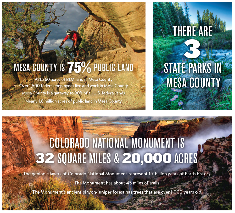 Mesa Count is 75% public land with 3 state parks and a 32 square mile National Monument.